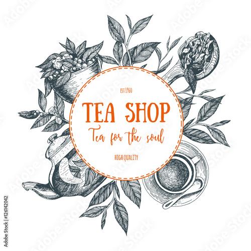 vector tea shop illustration tea circle frame illustration menu