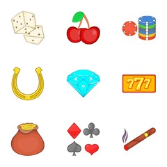 Casino game icons set. Cartoon illustration of 9 casino game vector icons for web