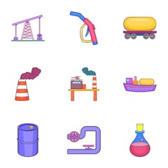 Oil icons set. Cartoon illustration of 9 oil vector icons for web