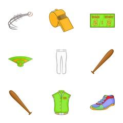 Baseball icons set. Cartoon illustration of 9 baseball vector icons for web