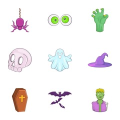 Terrible holiday icons set. Cartoon illustration of 9 terrible holiday vector icons for web
