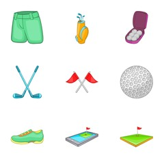 Golf icons set. Cartoon illustration of 9 golf vector icons for web