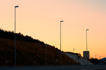 Evevning lampposts in Norway background