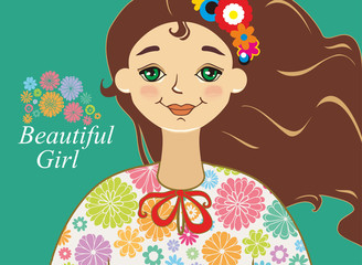 Beautiful girl. Vector illustration of a portrait of a beautiful young girl with brown hair and flowers.