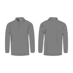 grey polo with long sleeve isolated vector