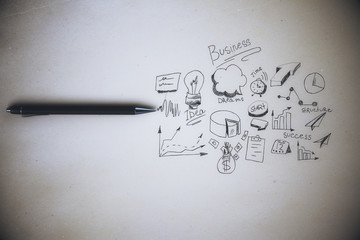 Paper sheet with business scribble