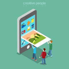 Flat isometric people picture phone screen vector. 3d Mobile app
