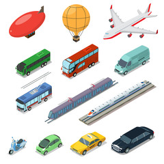 Isometric flat International auto air railway transport vector