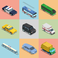 Isometric flat City vehicle railway flying transport vector set