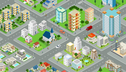 Flat isometric city road model vector. 3d buildings architecture