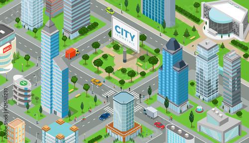 Flat isometric city road model vector  3d buildings