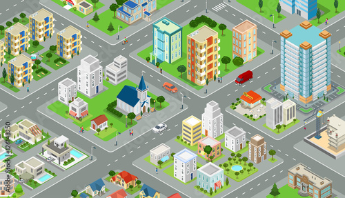 Flat isometric city road model vector  3d buildings architecture