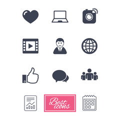 Social media icons. Video, share and chat signs. Human, photo camera and like symbols. Report document, calendar icons. Vector