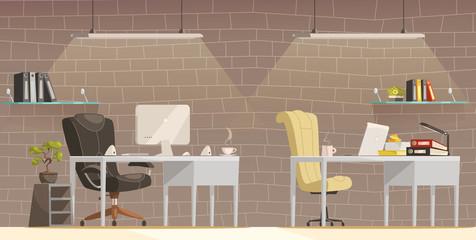Modern Office Desk  Lighting  Cartoon Poster