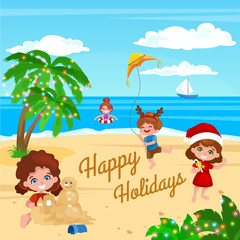 children playing on the beach. Christmas vacation on the beach. a boy with a kite, palm trees with garlands. Little girl sculpts a snowman made of sand. tropical christmas