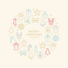 colorful christmas icons elements circle background