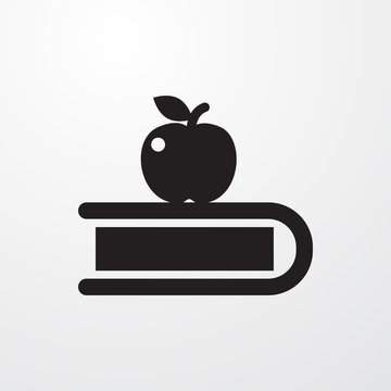 apple on book icon illustration