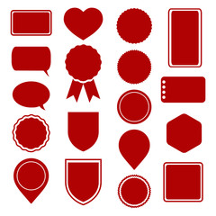 Set of red stickers, labels, icons and banners for sale