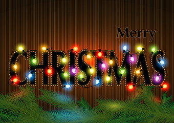 Merry Christmas Greeting with Glowing Colorful Christmas Lights over Striped Mahogany Background - Abstract Illustration, Vector