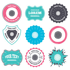 Label and badge templates. Wood sign icon. Tree growth rings. Tree trunk cross-section. Retro style banners, emblems. Vector