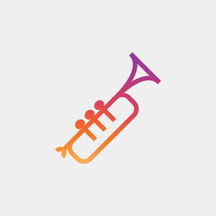 Trumpet icon vector, clip art. Also useful as logo, silhouette and illustration.