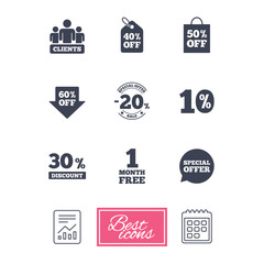 Sale discounts icon. Shopping, clients and speech bubble signs. 20, 30, 40 and 50 percent off. Special offer symbols. Report document, calendar icons. Vector