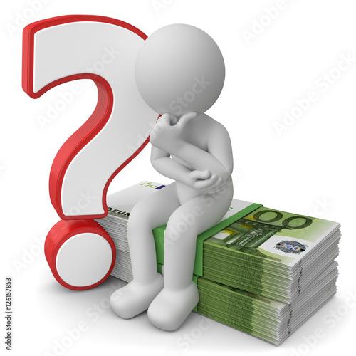 3d Männchen mit Geld und Fragezeichen\