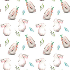 Seamless pattern with watercolor rabbits and green branches, hand drawn isolated on a white background