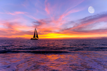 Wall Mural - Sailboat Ocean Sunset