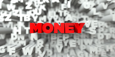 MONEY -  Red text on typography background - 3D rendered royalty free stock image. This image can be used for an online website banner ad or a print postcard.