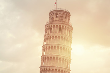 Leaning tower of Pisa in morning
