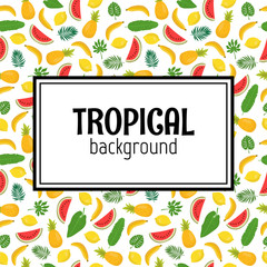 Abstract background with tropical leaves and fruits. Jungle patt