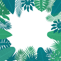 Abstract background with tropical leaves. Floral design backgrou