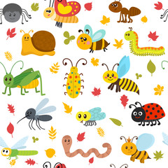 Cute cartoon seamless pattern with insects and leaves. Funny bac