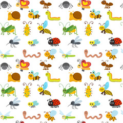 Cute cartoon seamless pattern with insects. Funny background for