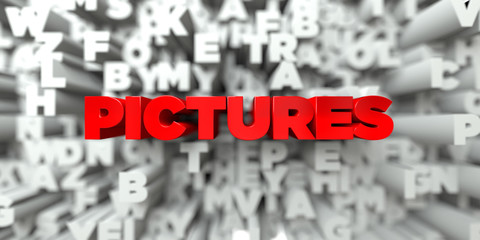 PICTURES -  Red text on typography background - 3D rendered royalty free stock image. This image can be used for an online website banner ad or a print postcard.
