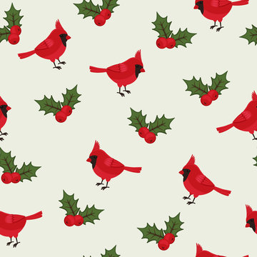 Cardinal bird beautiful seamless