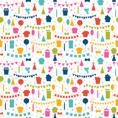 Happy Birthday seamless pattern with colorful party elements. Ba