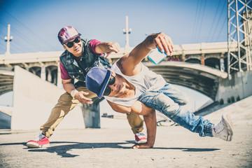 Breakdancers taking a selfie