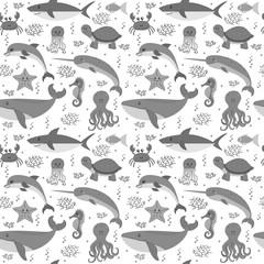 Seamless pattern with cartoon sea life animals. Sea theme. Under
