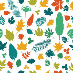 Seamless pattern with colored leaves. Autumn background