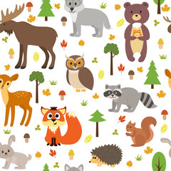 Seamless pattern with cute forest animals, mushrooms, leaves and