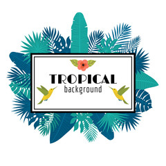 Tropical leaves background. Summer design. Square frame with flo