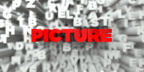 PICTURE -  Red text on typography background - 3D rendered royalty free stock image. This image can be used for an online website banner ad or a print postcard.