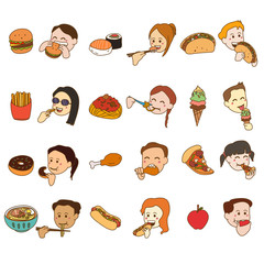 Icon Set of People Eating and Food