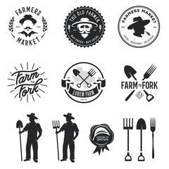 Farmers market set of labels badges emblems. Vector vintage illustration.
