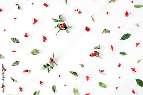Floral Frame With Minimal Creative Berry Arrangement Pattern On White Flat Lay Top View