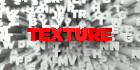 TEXTURE -  Red text on typography background - 3D rendered royalty free stock image. This image can be used for an online website banner ad or a print postcard.
