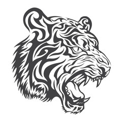 Tiger head logo in black on a white background