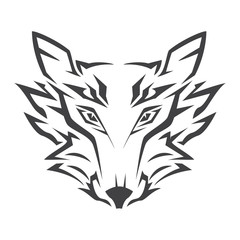Wolf head logo in black on a white background
